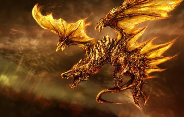 Картинка фантастика, огонь, дракон, крылья, арт