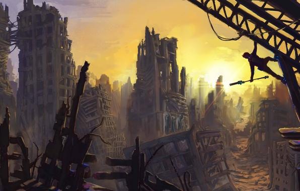 Картинка обломки, солнце, город, человек, арт, руины, Jon Baker