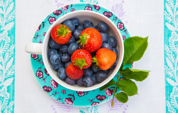 Картинка листья, ягоды, черника, клубника, чашка, блюдце, голубика