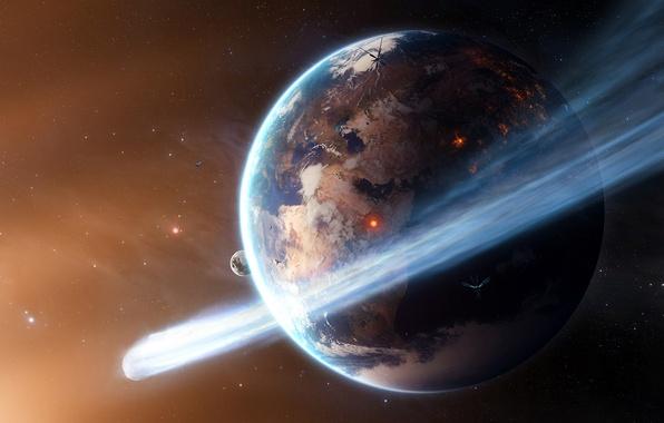 Картинка космос, звезды, огонь, земля, планета, комета, спутники