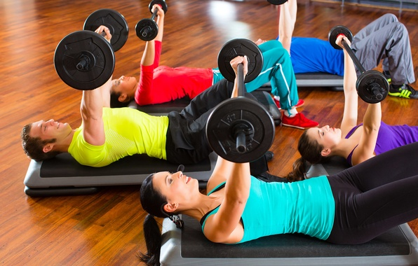 Картинка group, fitness, gym, weights, dumbbells