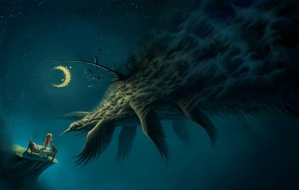 Картинка девочка, крылья, арт, лестницы, кровать, мотыльки, ворон, ночь, птица, месяц, монстр