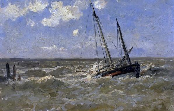 Картинка корабль, картина, морской пейзаж, Карлос де Хаэс, Море в Нормандии