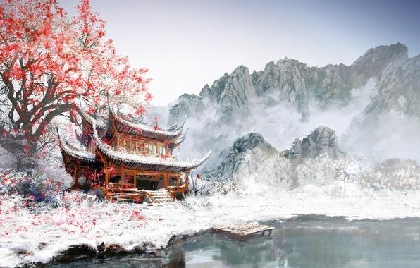 Картинка листья, снег, горы, туман, озеро, дерево, азия, рисунок, здание, пристань