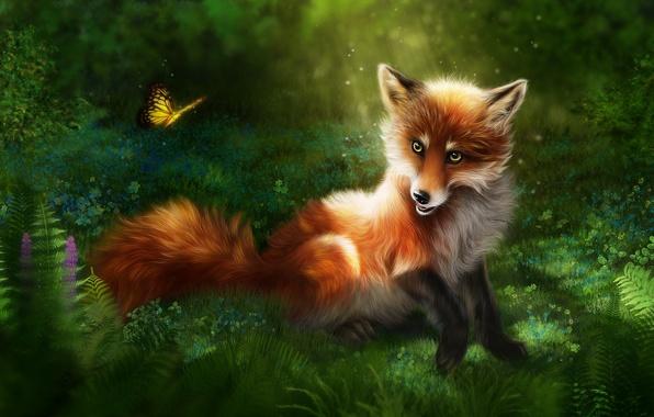 Картинка трава, природа, рендеринг, бабочка, лиса, рыжая, лисица