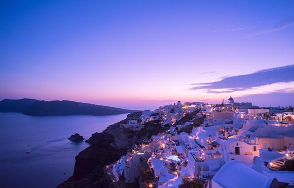 Картинка море, закат, огни, дома, вечер, Санторини, Греция, остров Тира