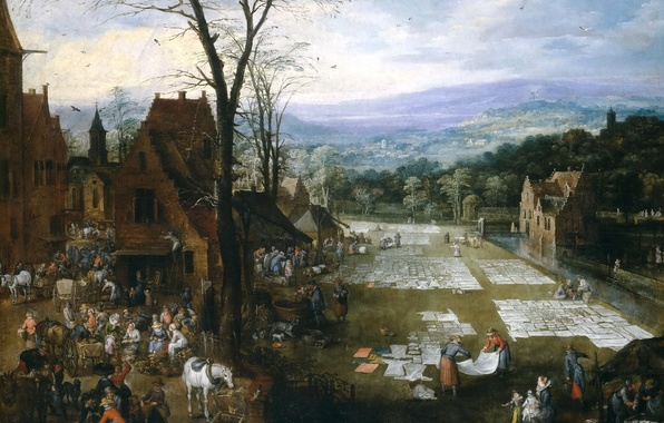 Картинка деревья, пейзаж, горы, дома, картина, жанровая, Ян Брейгель старший, Беление Холстов близ Рынка во Фландрии