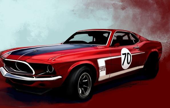 Картинка красный, рисунок, Mustang, Ford, Boss 302