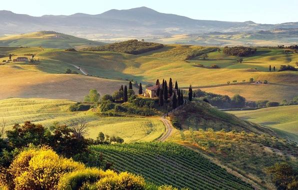 Картинка дорога, осень, деревья, горы, природа, холмы, дома, Пейзаж
