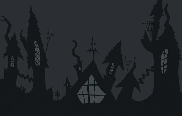 Картинка дома, тень, Halloween, Хэллоуин