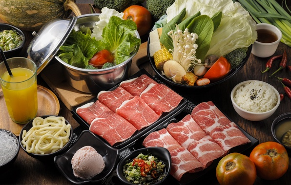 Картинка грибы, сок, мороженое, мясо, рис, овощи, помидор