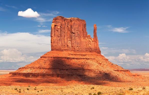 Картинка небо, облака, скала, гора, США, долина монументов