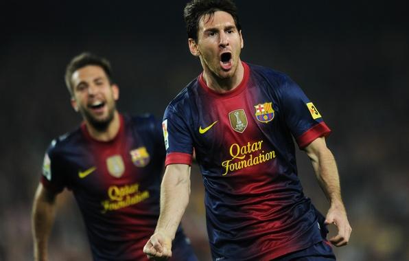 Картинка футбол, гол, футболисты, football, Лионель Месси, Lionel Messi, Barcelona, празднование, Jordi Alba, el classico, Nou …