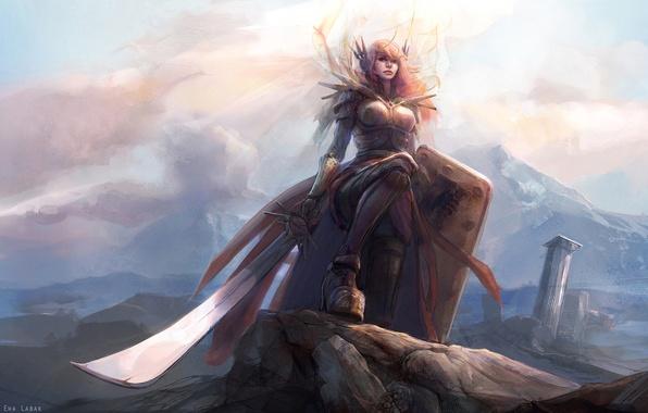 Картинка девушка, свет, горы, меч, доспехи, щит, League of Legends, Leona, LoL