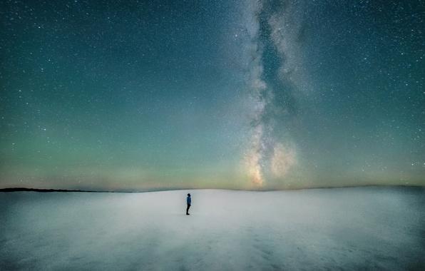 Картинка зима, космос, снег, галактика, млечный путь, север