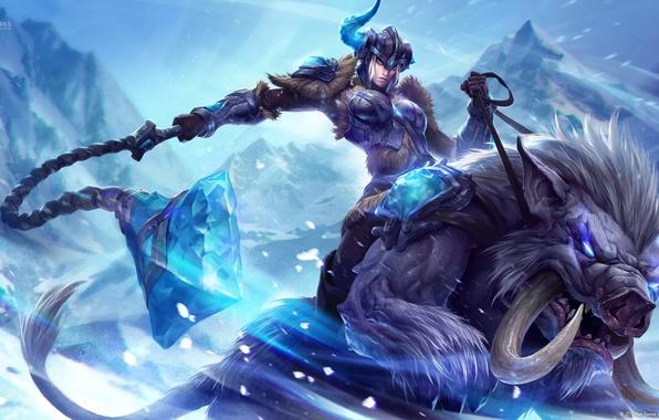 Картинка кристалл, девушка, снег, горы, оружие, монстр, арт, рог, League of Legends, Sejuani, Michal Ivan