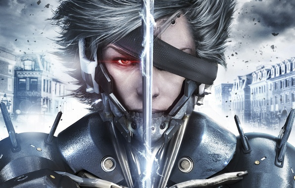 Картинка взгляд, тучи, глаз, дом, сталь, меч, штрих-код, броня, Ниндзя, ток, Киборг, Raiden, Metal Gear Rising: …