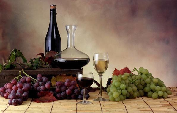 Картинка листья, вино, бокалы, виноград, бутылки