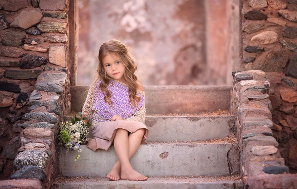 Картинка цветы, девочка, ступеньки, локоны, букетик, боке, photography workshop, Desert Beauty