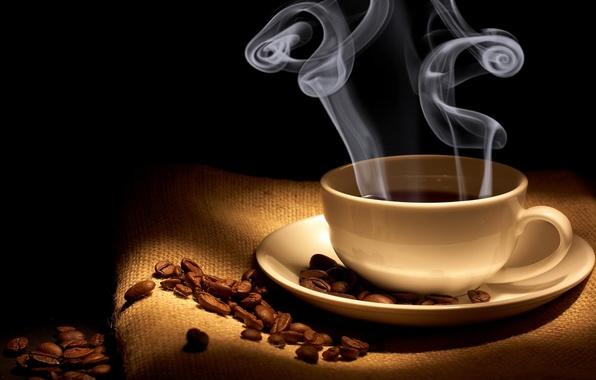 Картинка кофе, пар, чашка, мешковина, аромат, зёрна