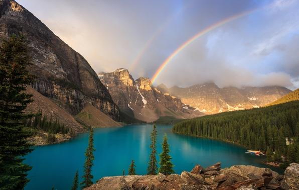 Картинка лес, горы, озеро, радуга, Канада, Banff National Park, Alberta, Canada, Moraine Lake, Valley of the …