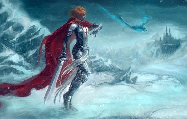 Картинка холод, дорога, девушка, снег, красный, оружие, дракон, меч, арт, World of Warcraft, плащ, крестоносец