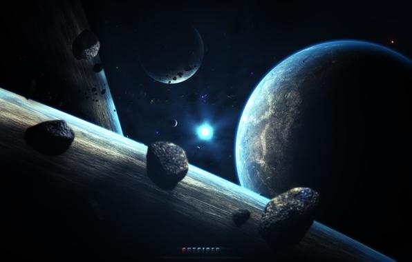 Картинка космос, звезды, земля, планета, арт, abikk