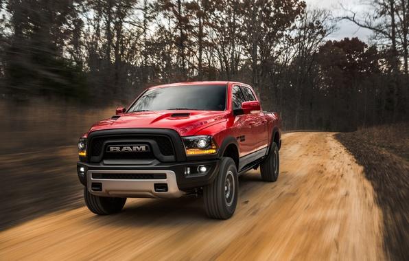 Картинка Dodge, Red, Power, 1500, Pickup, Ram, Hemi, Rebel