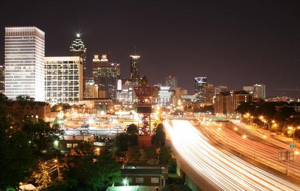 Картинка дорога, ночь, огни, здание