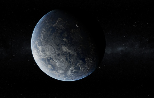 Картинка Звезды, Планета, Спутник, Рельеф