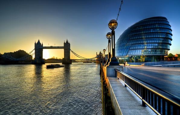 Картинка восход, Англия, Лондон, утро, morning, Sunrise, Tower Bridge, London, England, Thames, River, city hall