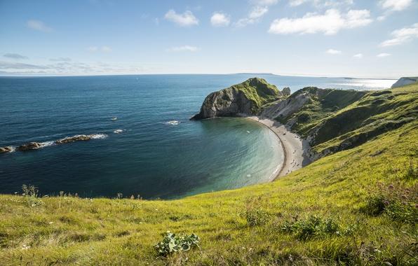 Обои море, небо, трава, солнце, облака, камни, скалы, побережье, горизонт, Великобритания, лагуна, возвышенность, Dorset, Durdle Door, …