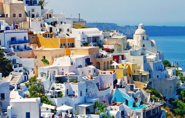 Картинка город, фото, дома, Греция