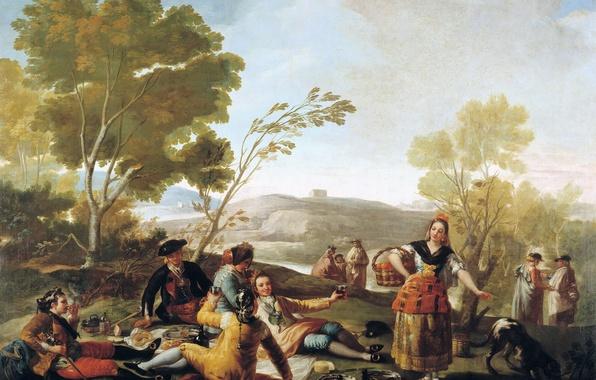 Картинка деревья, пейзаж, люди, картина, Пикник, жанровая, Франсиско Гойя