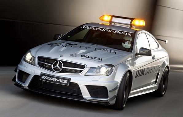 Картинка Mercedes-Benz, Мерседес, AMG, Coupe, передок, мигалка, Black Series, C63, АМГ, Safety Car