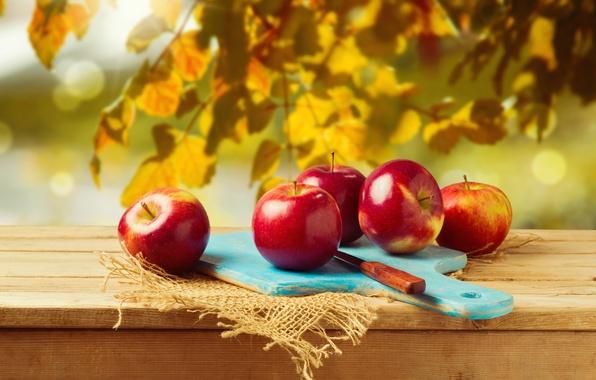 Картинка листья, ветки, яблоки, нож, доска, мешковина
