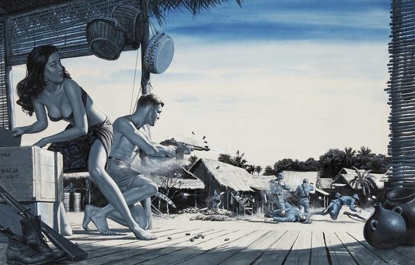 Картинка пальмы, война, япония, бой, автомат, хижина, азиатка, ящик, box, japan, стычка, war, синий фон, shoot, …