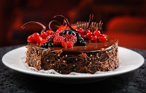 Картинка ягоды, малина, шоколад, черника, тарелка, торт, десерт, смородина, аппетитно