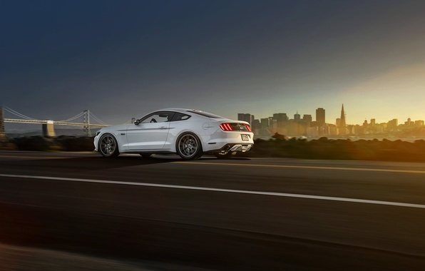 Картинка Mustang, Ford, Muscle, Car, White, Vossen, Wheels, Rear, 2015
