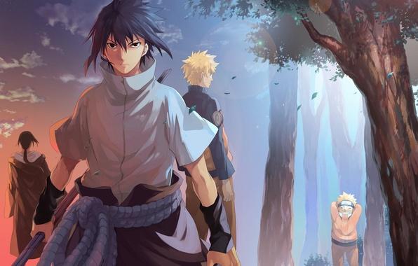 Картинка naruto, anime, art, Itachi Uchiha, Uchiha Sasuke, Naruto Uzumaki