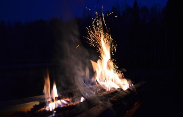 Картинка огонь, пламя, костер, искры
