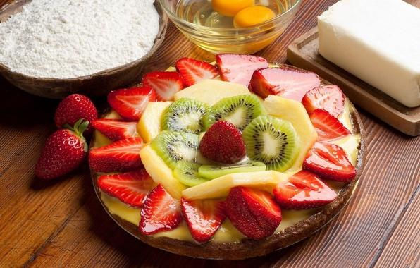 Картинка масло, яйца, киви, клубника, тарелка, ананас, дольки, сочный десерт, мука