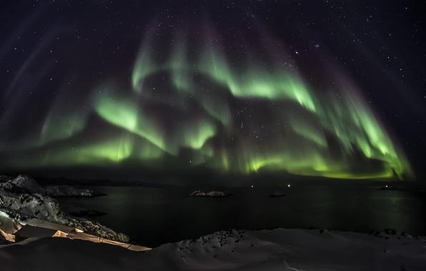 Картинка звезды, снег, ночь, зеленый, океан, северное сияние, Aurora Borealis