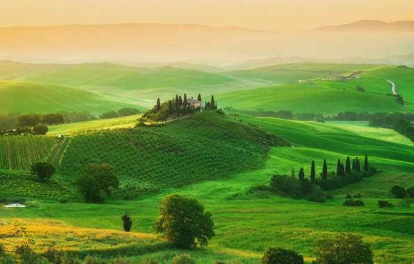 Картинка деревья, дом, поля, весна, утро, Италия, Май, усадьба, Тоскана