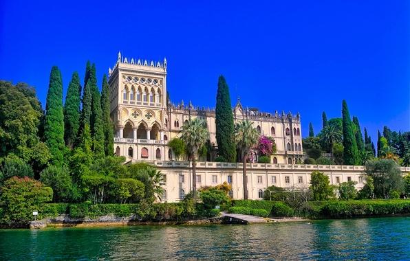 Картинка деревья, озеро, вилла, здание, Италия, Italy, Ломбардия, Lombardy, Lake Garda, Villa Borghese Cavazza, Озеро Гарда, …