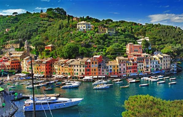 Картинка море, деревья, пейзаж, природа, город, скалы, побережье, здания, дома, лодки, Италия, Italy, провинция, Портофино, Portofino, …