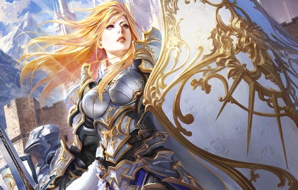 Картинка Девушка, меч, доспехи, щит