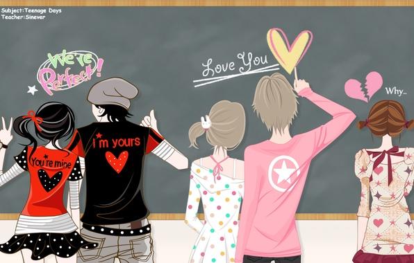 Картинка девушки, звезда, аниме, арт, сердечки, парни, бант, пары, el-zheng