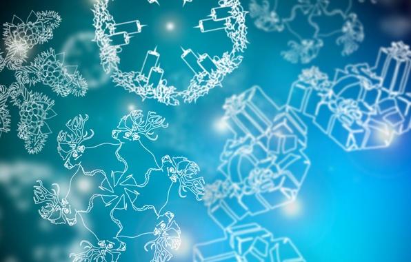 Картинка зима, снежинки, новый год, рождество, свечи, подарки, new year, олени, шишки, merry christmas