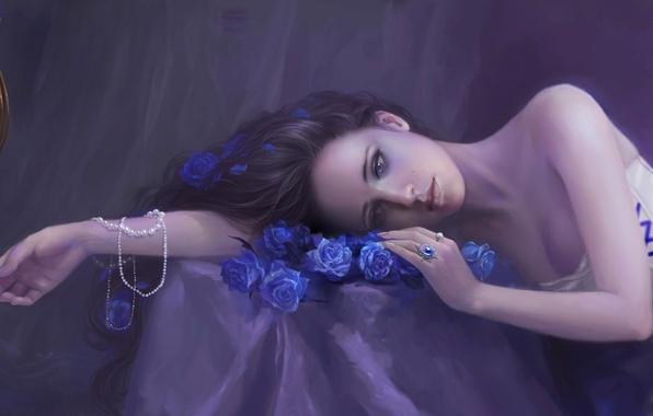 Картинка девушка, украшения, птица, рука, розы, кольца, клетка, арт, бусы, синие, лежа
